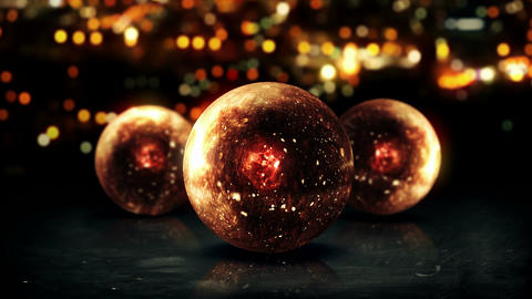 Three Orb Orange 3D Bokeh City Background Loop Ani CG動画素材