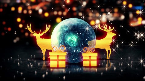 Blue Crystal Bauble Gold Christmas Deer Gift 3D bo Animation