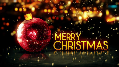 Red Gold Merry Christmas Bokeh Beautiful 3D Red Ba Animation