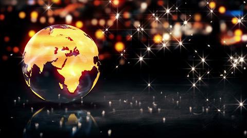Globe Glass Crystal Gold City Light Shine Bokeh 3D Animation