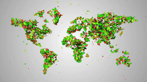 World Map Leaves Particles Looping Animation - 4K  stock footage