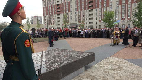 Honor Guard At The War Memorial. 4K stock footage