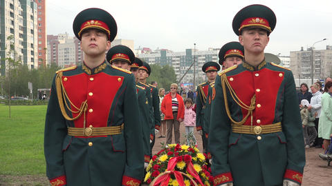 Russian soldiers in the guard of honor. 4K Footage
