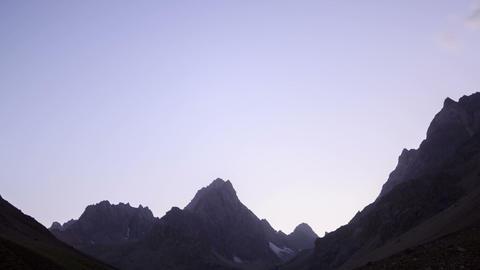 Moon illuminates the valley. Time Lapse. Pamir Footage