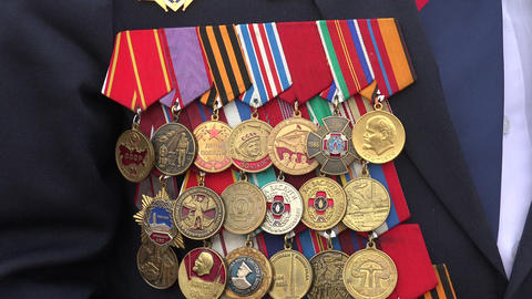 Orders And Medals On His Chest Veteran. 4K stock footage