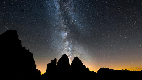 4k UHD Tre Cime De Lavaredo Milky Way Pan 11499 stock footage