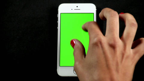 Smartphone Touch Screen Finger Gestures On Green stock footage