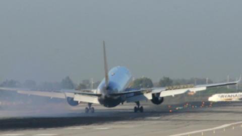 Passenger airplane landing Footage