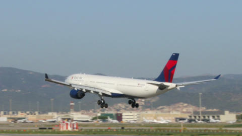 Commercial Aircraft Landing At Barcelona Airport stock footage