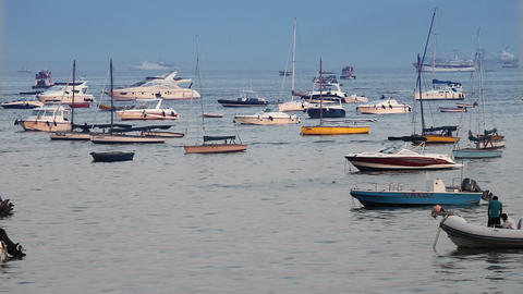 boats and yachts at sea Stock Video Footage