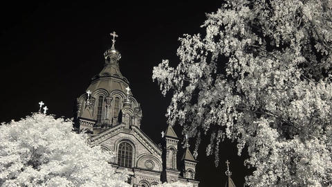 Infrared Finland: Uspenski Cathedral in Helsinki 2 Stock Video Footage
