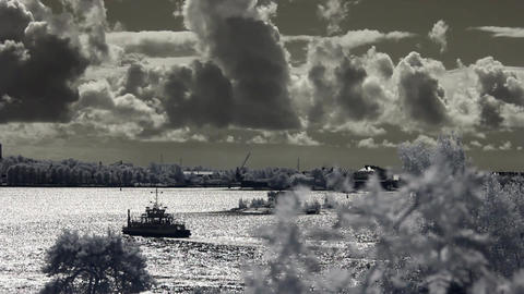 Infrared Finland: clouds over sea and Suomenlinna fortification 2 Footage