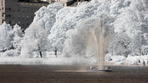 Infrared Finland: fountain near Finlandia Hall in Helsinki 1 Stock Video Footage