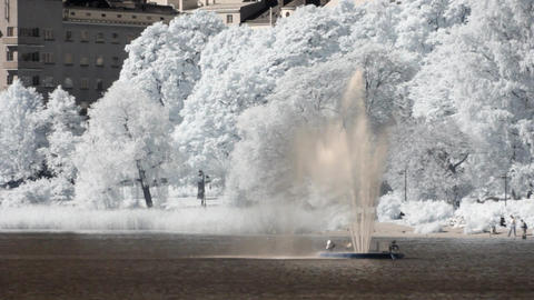 Infrared Finland: fountain near Finlandia Hall in Helsinki 1 Stock Video Footage