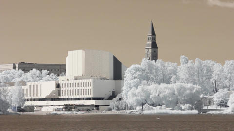 Infrared Finland: Finlandia Hall in Helsinki 3 Stock Video Footage