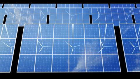 Solar Panel Wind Turbine D2CW HD Stock Video Footage