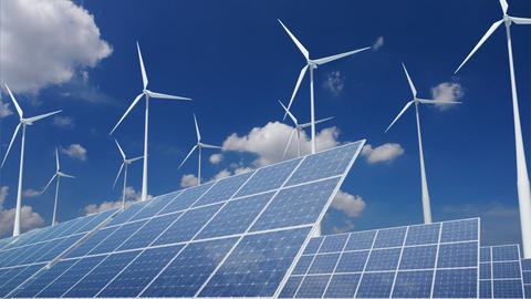 Solar Panel Wind Turbine E2CW HD Stock Video Footage