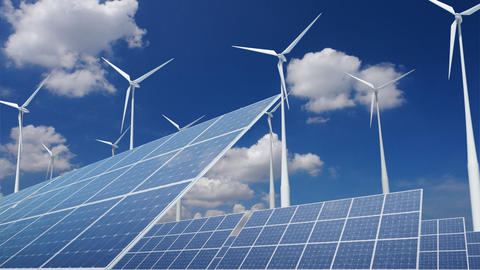 Solar Panel Wind Turbine E2CW HD Animation