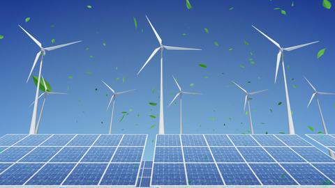 Solar Panel Wind Turbine H2WG HD Stock Video Footage