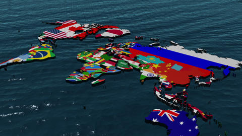 3D Flag World to Middle East Stock Video Footage