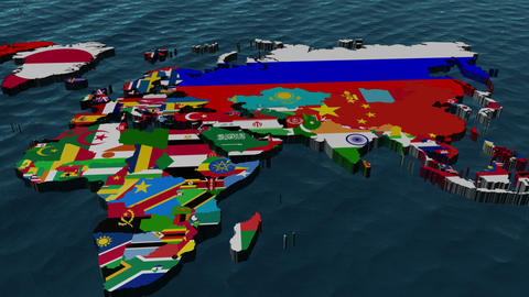 3D Flag World to Middle East Animation