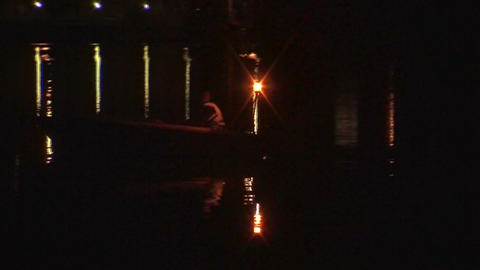 Security boat on a lake at night 1 Stock Video Footage