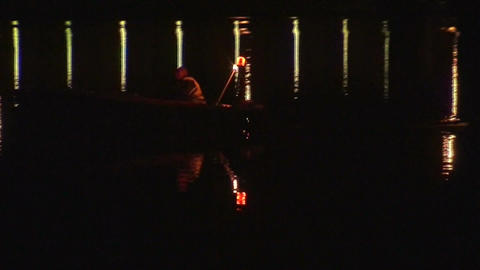 Security boat on a lake at night 1 Footage