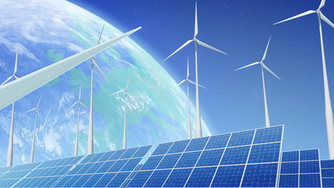 Solar Panel Wind Turbine E1 HD Stock Video Footage