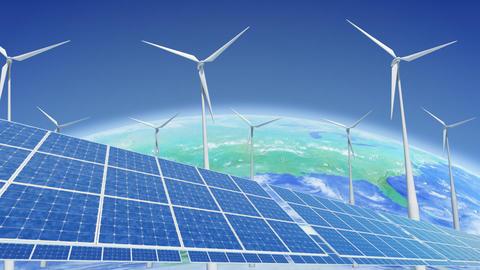 Solar Panel Wind Turbine E3 HD Animation