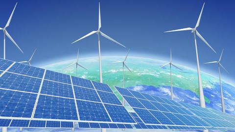 Solar Panel Wind Turbine E3 HD Stock Video Footage