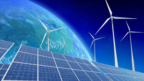 Solar Panel Wind Turbine E5 HD Stock Video Footage