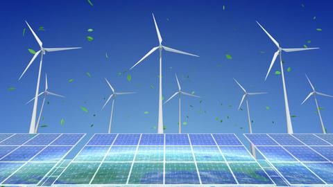 Solar Panel Wind Turbine E7 HD Stock Video Footage