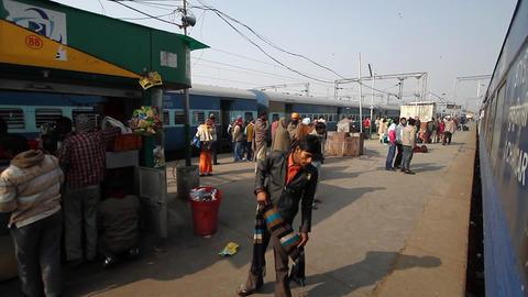 passengers awaiting metro train, delhi, india Footage