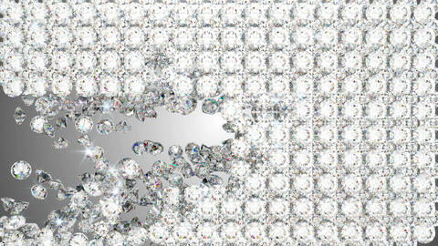 Diamonds falling with whirl and disappearing. Slow motion Stock Video Footage