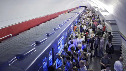 Nevsky Prospekt, exiting, St. Petersburg, Russia Stock Video Footage