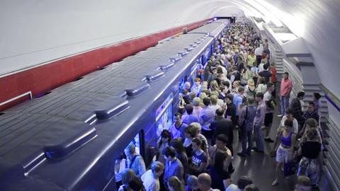 Nevsky Prospekt, exiting, St. Petersburg, Russia Footage
