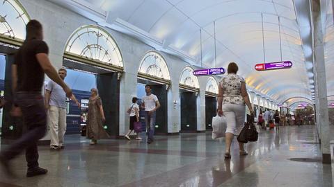 Zvenigorodskaya, entering-leaving, St. Petersburg, Stock Video Footage
