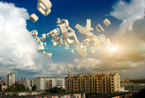 Flying letters in the sky above the city among the clouds Stock Video Footage