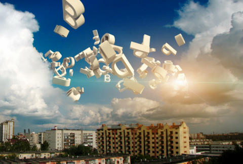 Flying letters in the sky above the city among the clouds Animation