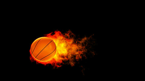 Basketball fireball in flames on black background Stock Video Footage