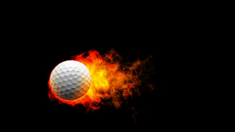 Golf fireball in flames on black background Stock Video Footage