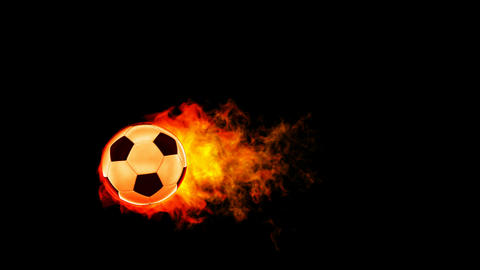 Soccer fireball in flames on black background Stock Video Footage