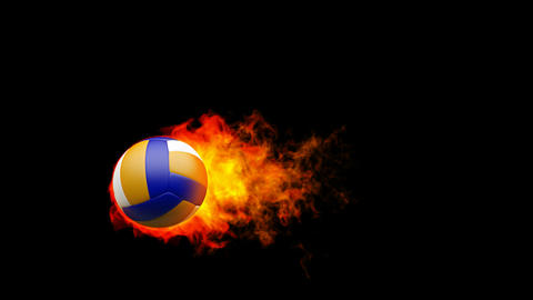 Volleyball fireball in flames on black background Stock Video Footage