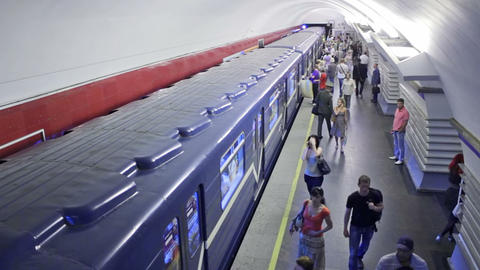 Nevsky Prospekt, train leaves, St. Petersburg, Rus Stock Video Footage