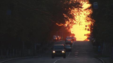 urban sunset 3 Stock Video Footage