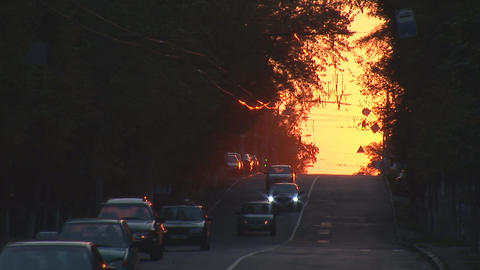urban sunset 3 Stock Video Footage