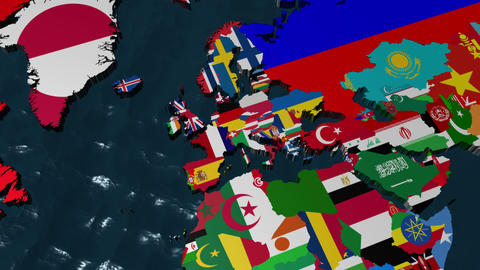 France 3D Flag World Zoom Stock Video Footage