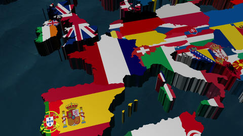 France 3D Flag World Zoom Animation