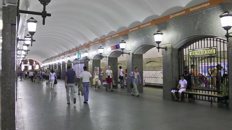 Dostoevskaya, subway, St. Petersburg, Russia Stock Video Footage