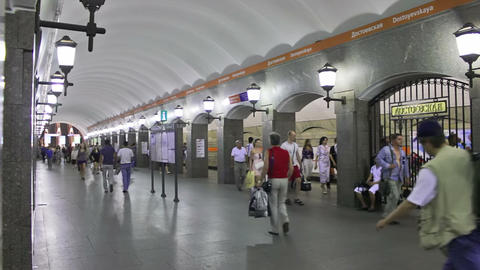 Dostoevskaya, subway, St. Petersburg, Russia Stock Video Footage